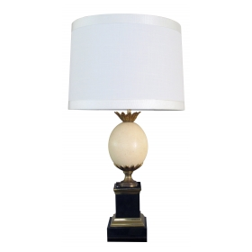 good quality french maison charles 1940's ostrich egg lamp with bronze mounts