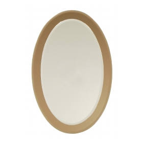 a good quallity italian 1970's fontana arte style oval mirror with smoky glass border