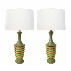 Pair of 1960's Ribbed Ovoid-form Lamps with Green Textured Glaze