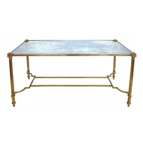 a stylish french mid-century neoclassical style rectangular brass coffee/cocktail table with mirrored top