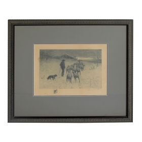 "Henry Pruett Share (American, 1853-1905) etching of a wintry pastoral scene of a shepherd and flock; signed ""R. LeGrande Johnston"" (1850-1918)"