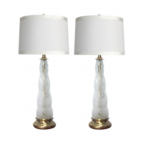 fun pair of Frederick Cooper 1960's frosted glass lamps with star motifs