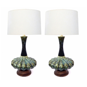 An Iconic Pair of Mid-Century Green Mottled-Glazed Globular Lamps