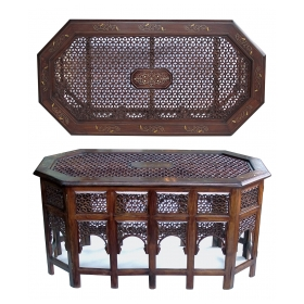 rare and unusually large intricately inlaid anglo indian octagonal side/traveling table with brass and copper inlay