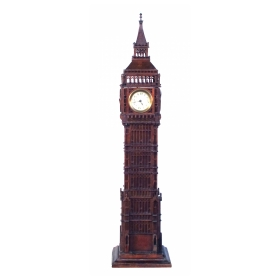 A Charming English Folk Art Carved Wooden Big Ben Clock