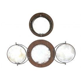 A Handsome French Circular Triptych Vanity Mirror with Cerused Oak Backplate