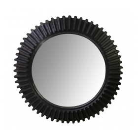 A Large American Wooden Cog Wheel now Mounted as a Mirror