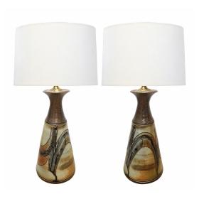 Large Pair of Art Pottery Stoneware Glazed Lamps