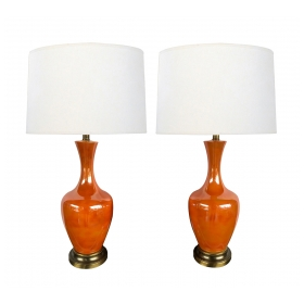 Vibrant Pair of 1960's Orange-glazed Bottle-form Lamps