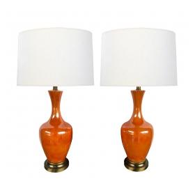 Vibrant Pair of 1960's Orange-glazed Bottle-form Lamps