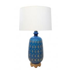 Large Italian 1960's Bitossi Cerulean Glazed Lamp with Gilt Decoration