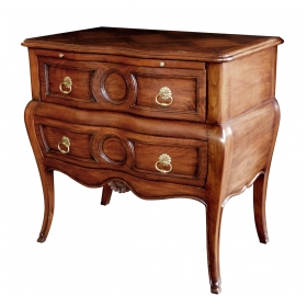 Good Quality Walnut Bombé-form 2-drawer Chest by Auffray & Co., NY