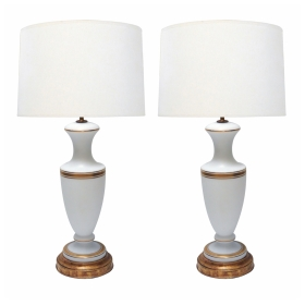 Pair of French 1960's White Frosted Glass Lamps with Gilt Highlights