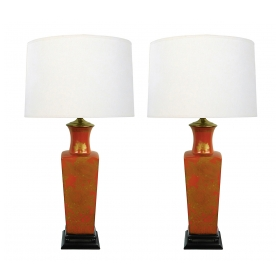 Good Pair of Chinese 1960's Red-orange Glazed Lamps with Gilt Decoration