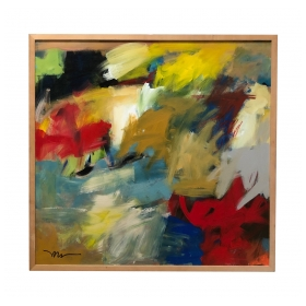 Acrylic on Canvas: Abstract Expressionist Painting by Susan Morosky ' Neon Day Field 3'