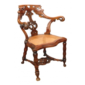 Shapely English Yew Wood Captain's Chair
