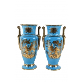 Pair of Empire Style Cerulean-glazed Porcelain Vases with Chinoiserie Motifs