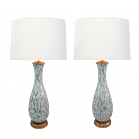 Large Pair of Murano 1960s White Bottle-form Lamps with Celadon Inclusions