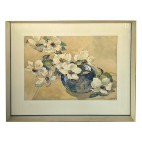 Watercolor on paper: Paul Immel (1896-1964) White Flowers in a Blue Bowl