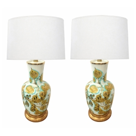 Pair of Italian 1950's Painted Porcelain Lamps Made for Marbro Lamp, Co., Los Angeles