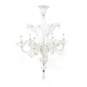 Large Venetian 6-light Clear Glass Chandelier; Murano 1950's or earlier