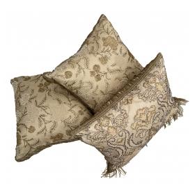 Set of Three Hand-beaded Silk Organza Decorative Pillows