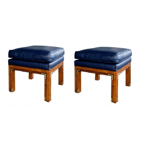 Handsome Pair of 1960's Square-form Faux Bamboo Beechwood Stools
