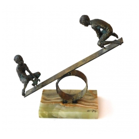 Playful Signed Bronze Seesaw Sculpture by Curtis Jere 1968