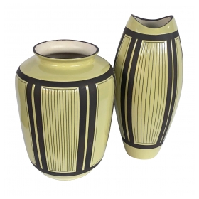 Two Schlossberg Keramik 1950's Pale Chartreuse Glazed Vases