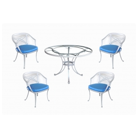 Brown Jordan 1960s Aluminum Patio Set with Four Armchairs