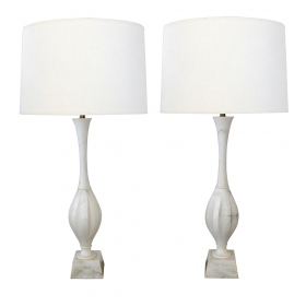 Pair of Italian 1960's Carved Carrera Marble Baluster-form Lamps