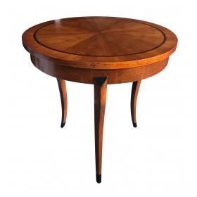 Elegant Biedermeier Style Cherrywood Circular Side Table