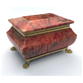 Well-figured Lidded Sarcophagus-shaped Coral-colored Marble Box with Gilt-bronze Mounts