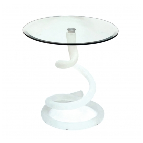 Shapely Italian Circular Glass Table with Spiraling Glass Base