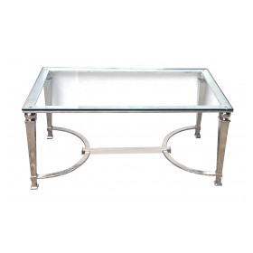 French Neoclassical Style Chrome Rectangular Coffee Table with Glass Top