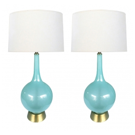 A Translucent Pair of Murano 1960's Pale-blue Bottle-form Lamps