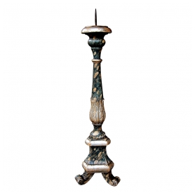 a large-scaled italian neoclassical style faux marble painted and parcel-gilt pricket stick