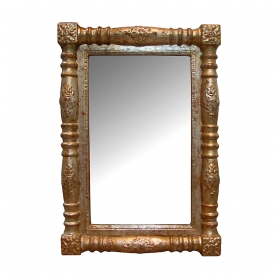 a handsome american empire carved giltwood rectangular mirror
