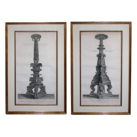 a well-rendered pair of italian engravings of monumental torchieres by giovanni piranesi
