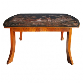 an unusual austrian secessionist walnut veneered 2-drawer center Tables with chinoiserie top