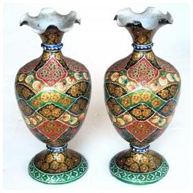 a vibrant and unusual pair of kashmiri papier mâché polychromed urns
