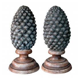 an unusual and massive pair of french concrete pinecone-form finials