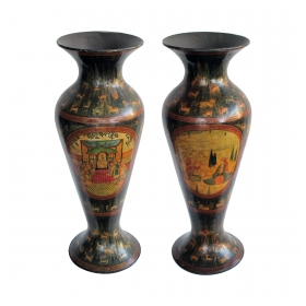 a rare and exceptionally large pair of Kashmiri Indo-Persian lacquered copper baluster-form vases