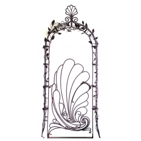 a contemporary and custom made steel gate by ron moore; 'sea shell gate and its floral arch'