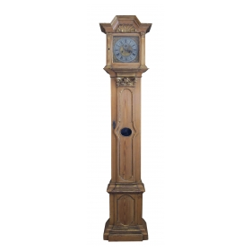 a stately swedish gustavian pine free-standing clock with gilt highlights
