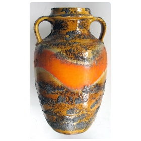 a large-scaled west german 1960's orange and ochre painted lava-glazed double handled ceramic urn