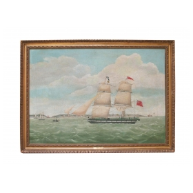 english oil painting of a schooner entering liverpool harbor; signed and dated 'W. Pike 1835'