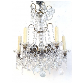 an elegant and graceful italian 1960's gilt-bronze and crystal 5-light chandelier