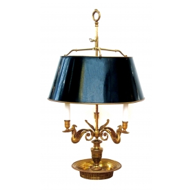 a good quality and large-scaled french empire style gilt-bronze 3-light bouillotte lamp with adjustable tole shade; stamped 'made in france'