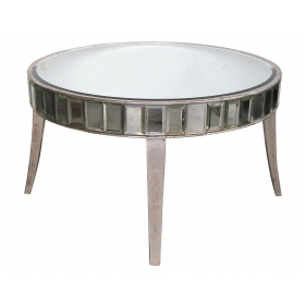 a shimmering american mid-century circular mirrored coffee/cocktail table with silver gilt wood supports